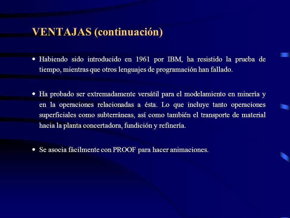 VENTAJAS (continuación) Habiendo sido introducido en 1961 por IBM, ha resistido la prueba de tiempo, mientras que otros lenguajes de programación han