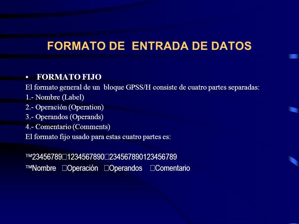 FORMATO DE ENTRADA DE DATOS FORMATO FIJO El formato general de un bloque GPSS/H consiste de cuatro partes separadas: 1.- Nombre (Label) 2.- Operación