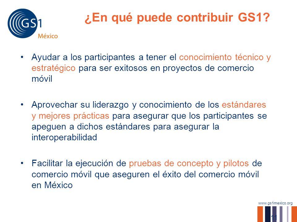 www.gs1mexico.org ¿En qué puede contribuir GS1? Ayudar a los participantes a tener el conocimiento técnico y estratégico para ser exitosos en proyecto