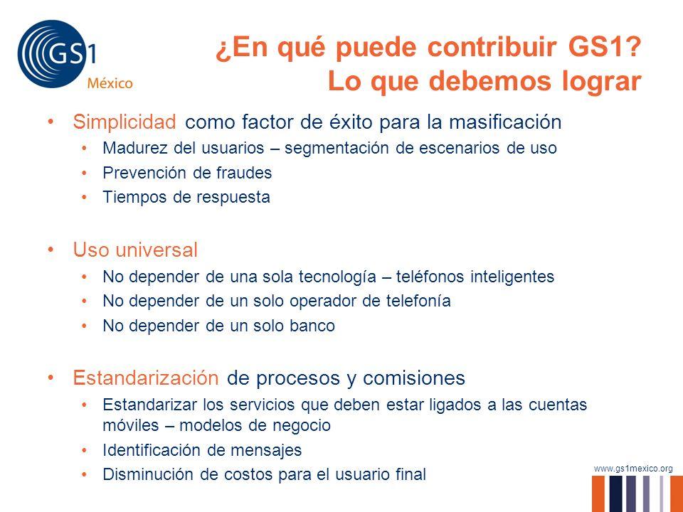 www.gs1mexico.org ¿En qué puede contribuir GS1? Lo que debemos lograr Simplicidad como factor de éxito para la masificación Madurez del usuarios – seg