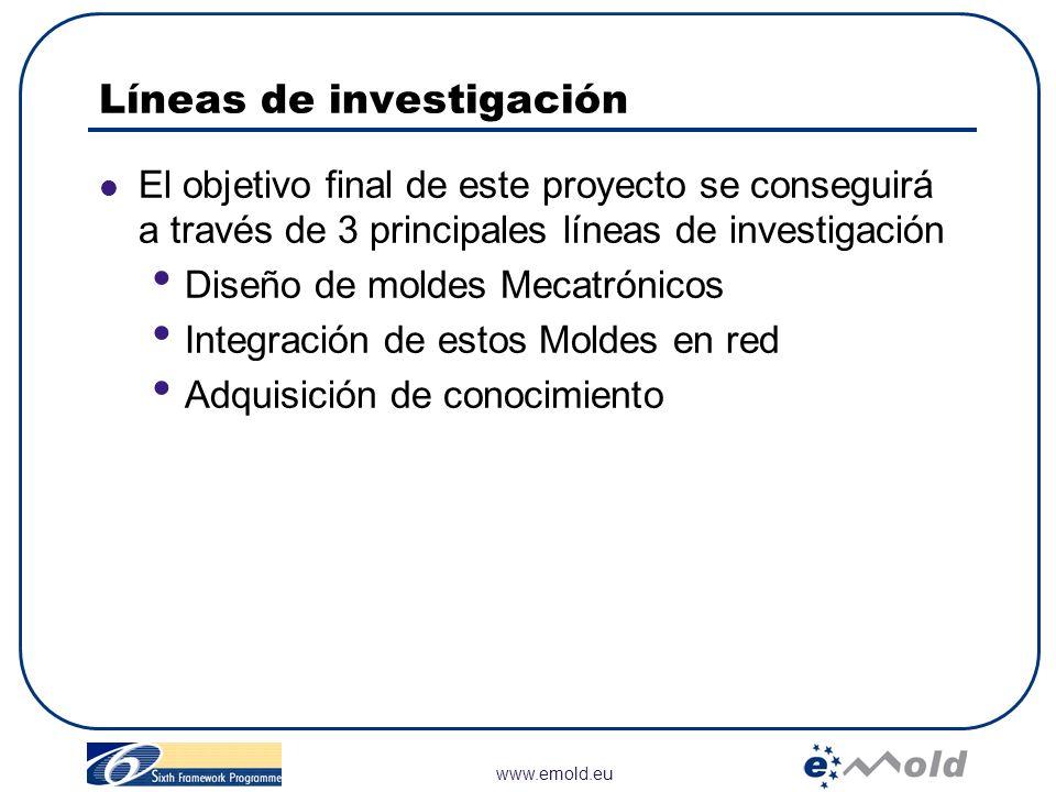 www.emold.eu Líneas de investigación El objetivo final de este proyecto se conseguirá a través de 3 principales líneas de investigación Diseño de mold