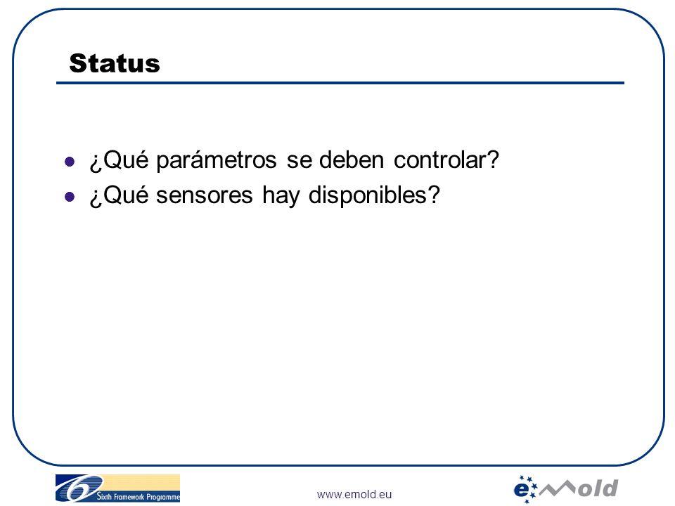 www.emold.eu Status ¿Qué parámetros se deben controlar? ¿Qué sensores hay disponibles?