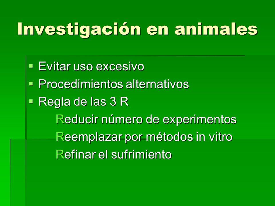 Investigación en animales Evitar uso excesivo Evitar uso excesivo Procedimientos alternativos Procedimientos alternativos Regla de las 3 R Regla de la