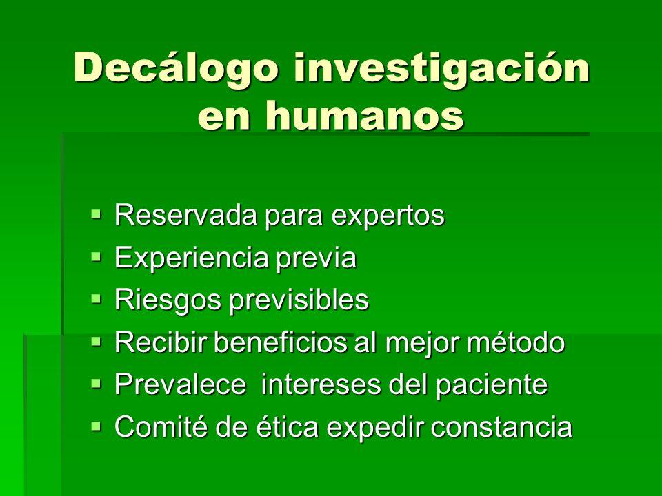 Decálogo investigación en humanos Reservada para expertos Reservada para expertos Experiencia previa Experiencia previa Riesgos previsibles Riesgos pr