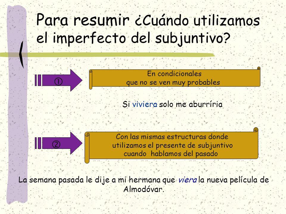 Para resumir ¿Cuándo utilizamos el imperfecto del subjuntivo? En condicionales que no se ven muy probables Con las mismas estructuras donde utilizamos