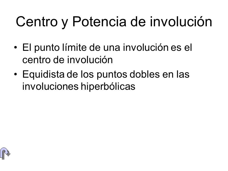 Centro y Potencia de involución El punto límite de una involución es el centro de involución Equidista de los puntos dobles en las involuciones hiperb