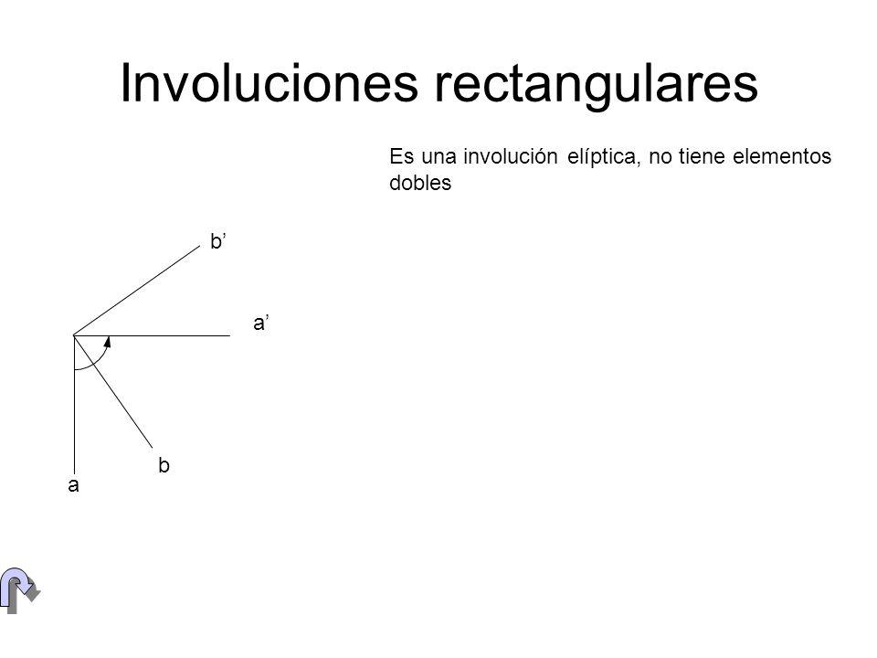 Centro de involución A A B B e E F G Cuatro puntos A, B, C y D, del plano pueden relacionarse mediante tres involuciones diferentes, de centros los puntos diagonales E, F y G, del cuadrivértice que determinan En la figura se ha establecido una involución sobre una circunferencia, determinándose el eje proyectivo e y el centro de involución E.