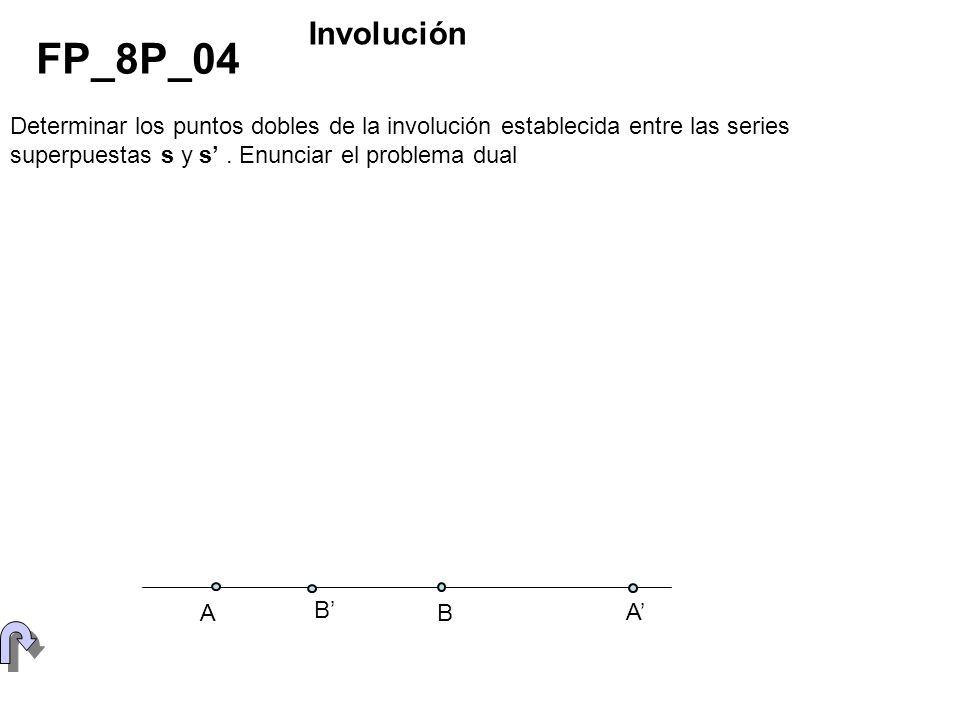 FIGURA DE ANÁLISIS B A B A s=s (B) (A) (s) (V) P FP_8P_05 Sea la recta (s), paralela al plano de proyección, dada por las proyecciones en sistema central de dos de sus puntos, obtener el punto principal V.