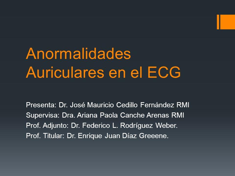 Anormalidades Auriculares en el ECG Presenta: Dr. José Mauricio Cedillo Fernández RMI Supervisa: Dra. Ariana Paola Canche Arenas RMI Prof. Adjunto: Dr
