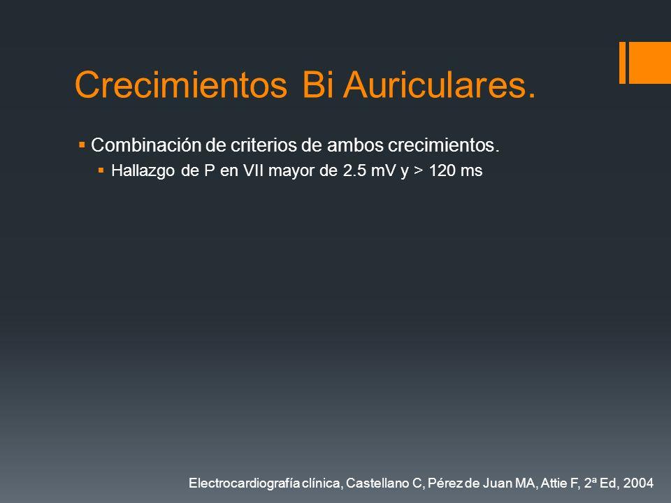 Crecimientos Bi Auriculares. Combinación de criterios de ambos crecimientos. Hallazgo de P en VII mayor de 2.5 mV y > 120 ms Electrocardiografía clíni