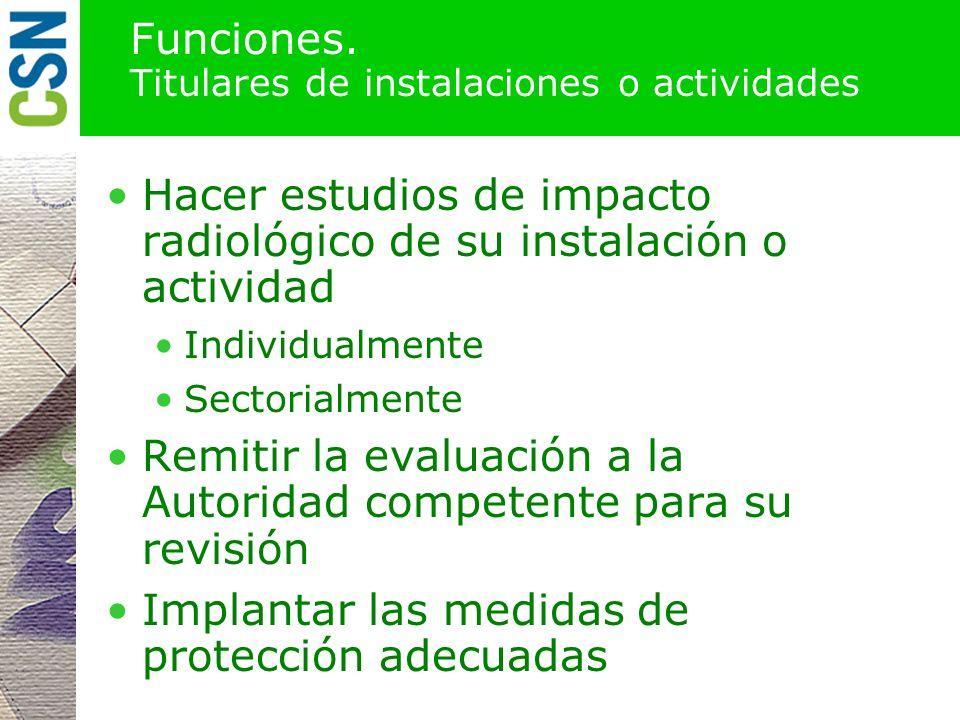 Funciones. Consejo de Seguridad Nuclear Impulsar el desarrollo del Título VII del RPSRI Identificar y cuantificar las actividades de interés con apoyo