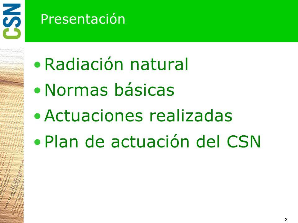 Presentación Radiación natural Normas básicas Actuaciones realizadas Plan de actuación del CSN 2
