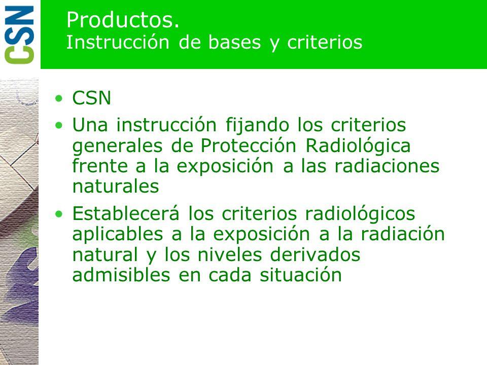 Productos. Inventario de instalaciones y actividades CSN, puede requerir ayuda de las autoridades competentes nacionales y autonómicas Relación detall