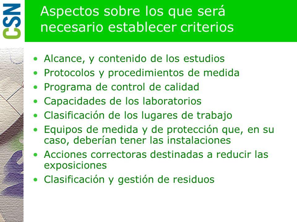 Productos. Instrucción de bases y criterios CSN Una instrucción fijando los criterios generales de Protección Radiológica frente a la exposición a las