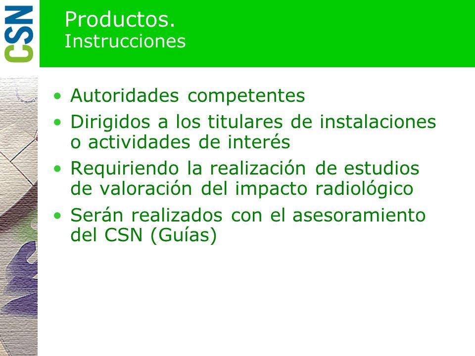 Productos. Guías de aplicación CSN Recomendaciones sobre el alcance, formato y contenido de los estudios que deben hacerse en cada situación para cump