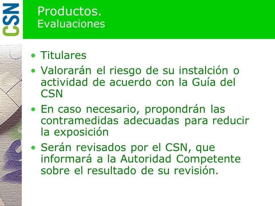 Productos. Instrucciones Autoridades competentes Dirigidos a los titulares de instalaciones o actividades de interés Requiriendo la realización de est