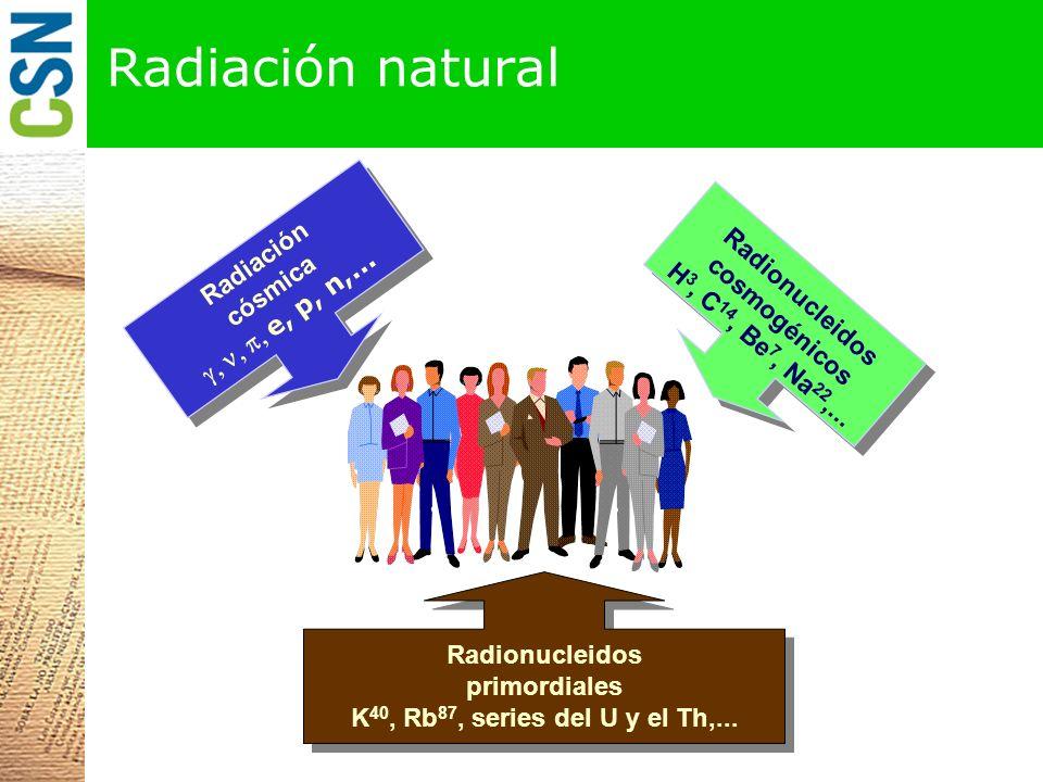 Radiación cósmica e, p, n,...Radionucleidos cosmogénicos H 3, C 14, Be 7, Na 22,...