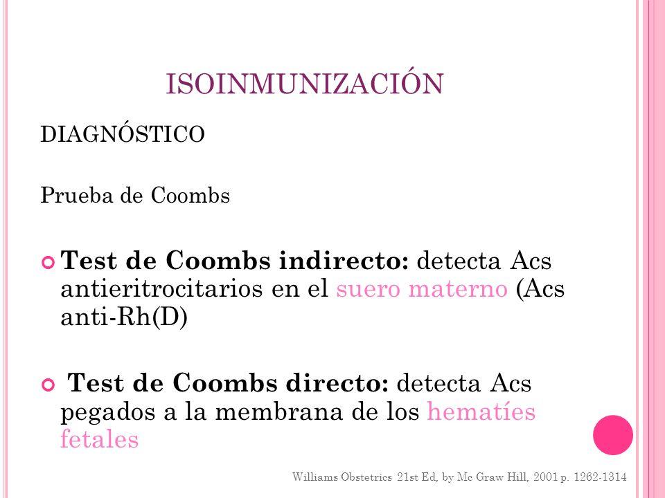 ISOINMUNIZACIÓN DIAGNÓSTICO Prueba de Coombs Test de Coombs indirecto: detecta Acs antieritrocitarios en el suero materno (Acs anti-Rh(D) Test de Coom