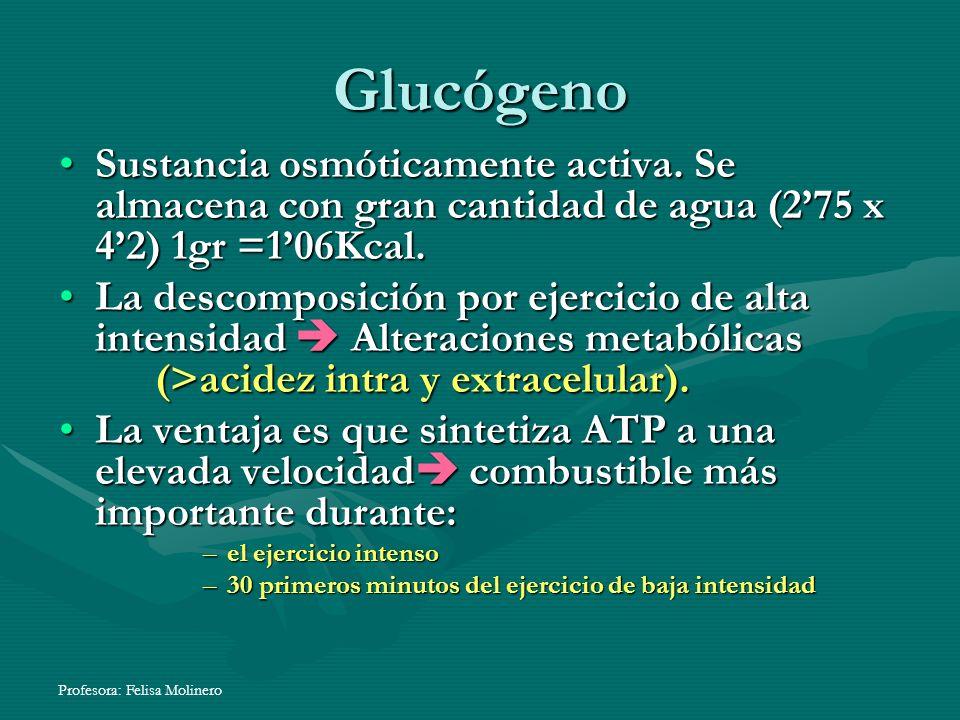 Profesora: Felisa Molinero Glucógeno Sustancia osmóticamente activa. Se almacena con gran cantidad de agua (275 x 42) 1gr =106Kcal.Sustancia osmóticam