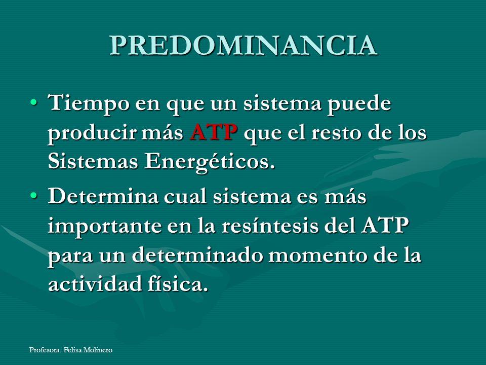 Profesora: Felisa Molinero PREDOMINANCIA Tiempo en que un sistema puede producir más ATP que el resto de los Sistemas Energéticos.Tiempo en que un sis