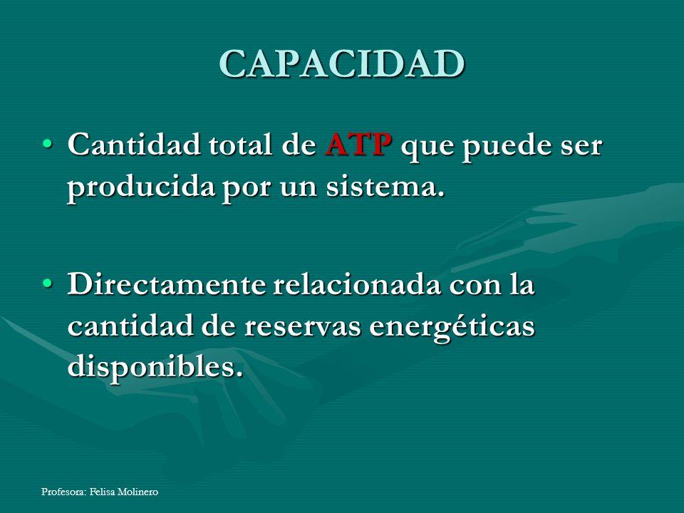 CAPACIDAD Cantidad total de ATP que puede ser producida por un sistema.Cantidad total de ATP que puede ser producida por un sistema. Directamente rela