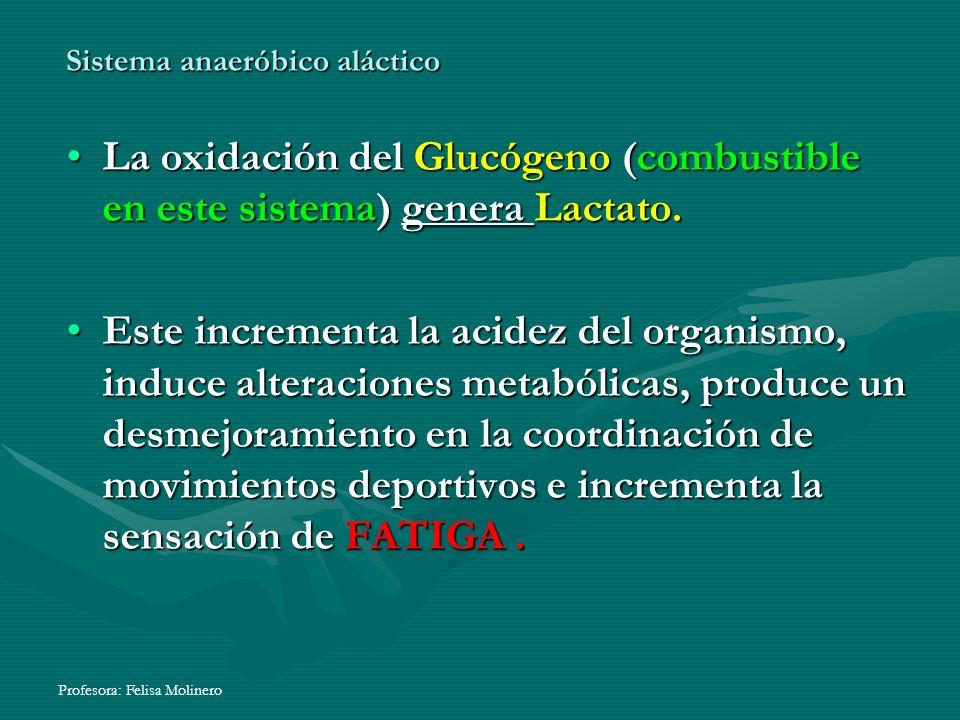 Profesora: Felisa Molinero La oxidación del Glucógeno (combustible en este sistema) genera Lactato.La oxidación del Glucógeno (combustible en este sis
