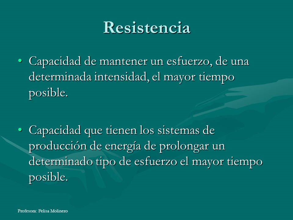 Profesora: Felisa Molinero Resistencia Capacidad de mantener un esfuerzo, de una determinada intensidad, el mayor tiempo posible.Capacidad de mantener