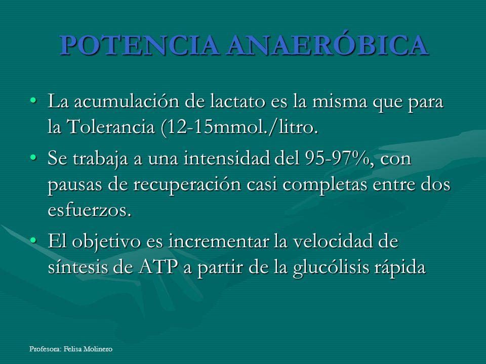 Profesora: Felisa Molinero POTENCIA ANAERÓBICA La acumulación de lactato es la misma que para la Tolerancia (12-15mmol./litro.La acumulación de lactat