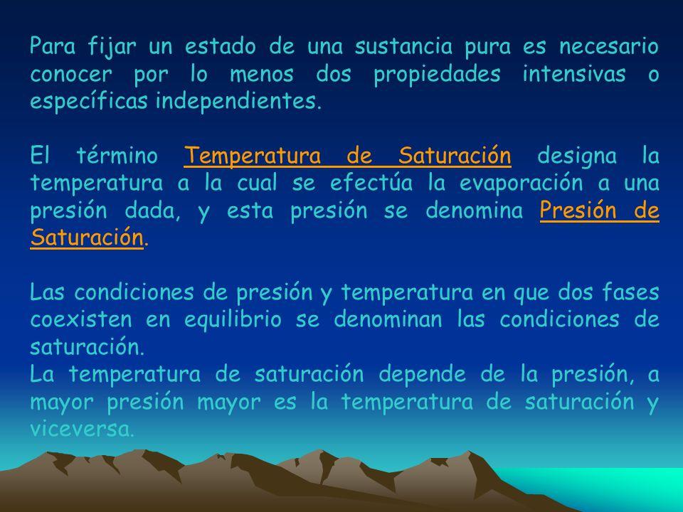 Para fijar un estado de una sustancia pura es necesario conocer por lo menos dos propiedades intensivas o específicas independientes. El término Tempe