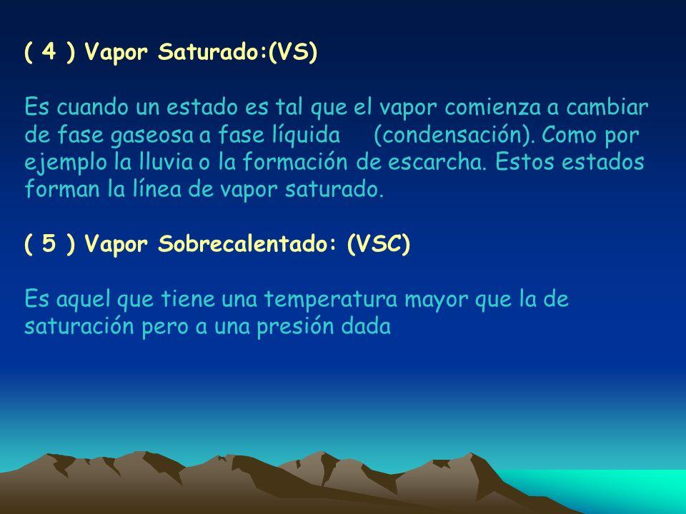 ( 4 ) Vapor Saturado:(VS) Es cuando un estado es tal que el vapor comienza a cambiar de fase gaseosa a fase líquida (condensación). Como por ejemplo l