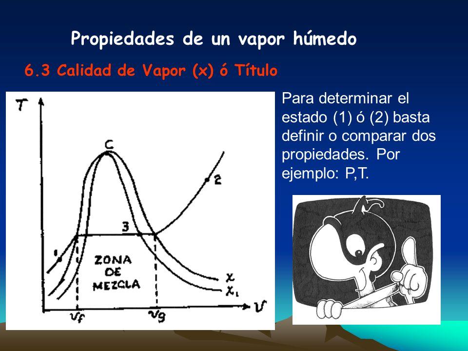 Propiedades de un vapor húmedo 6.3 Calidad de Vapor (x) ó Título Para determinar el estado (1) ó (2) basta definir o comparar dos propiedades. Por eje