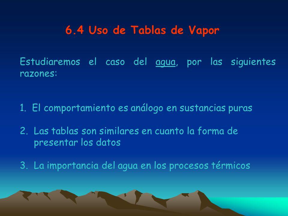 6.4 Uso de Tablas de Vapor Estudiaremos el caso del agua, por las siguientes razones: 1. El comportamiento es análogo en sustancias puras 2. Las tabla