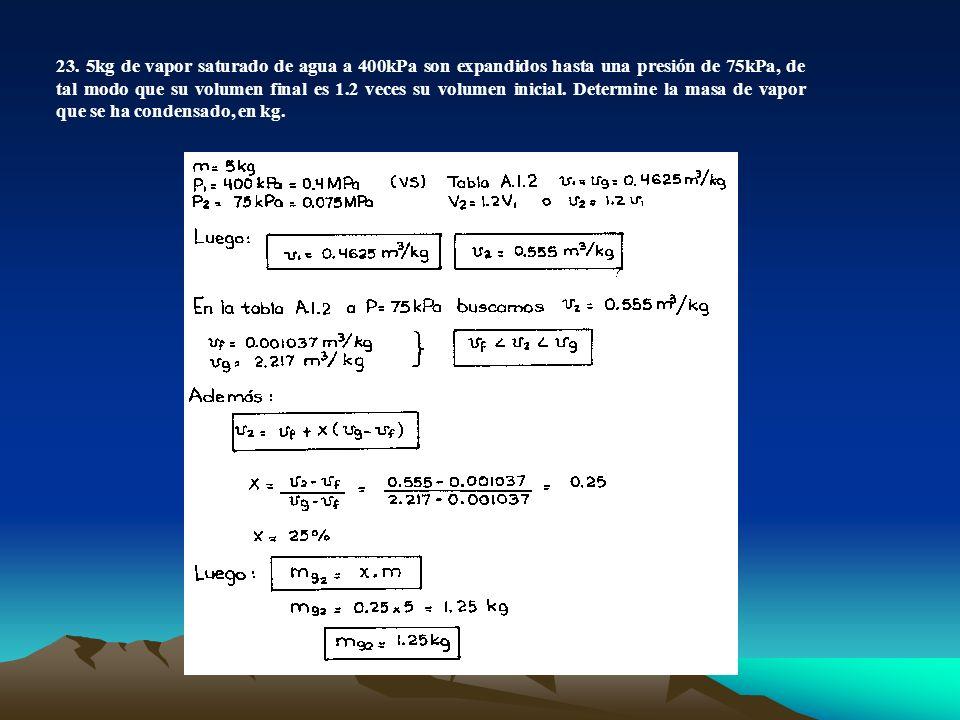 23. 5kg de vapor saturado de agua a 400kPa son expandidos hasta una presión de 75kPa, de tal modo que su volumen final es 1.2 veces su volumen inicial