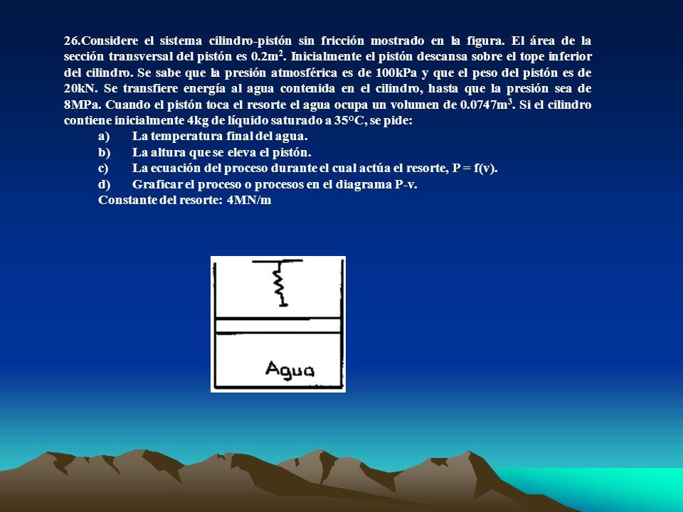 26.Considere el sistema cilindro-pistón sin fricción mostrado en la figura. El área de la sección transversal del pistón es 0.2m 2. Inicialmente el pi