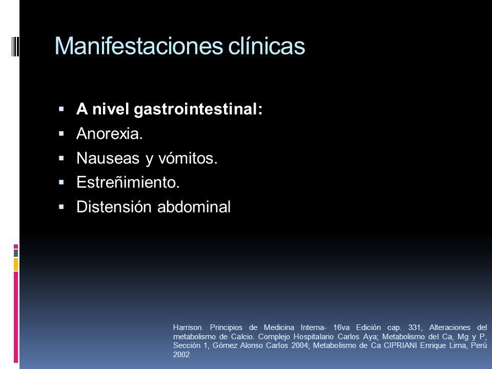 Manifestaciones clínicas A nivel gastrointestinal: Anorexia. Nauseas y vómitos. Estreñimiento. Distensión abdominal Harrison. Principios de Medicina I
