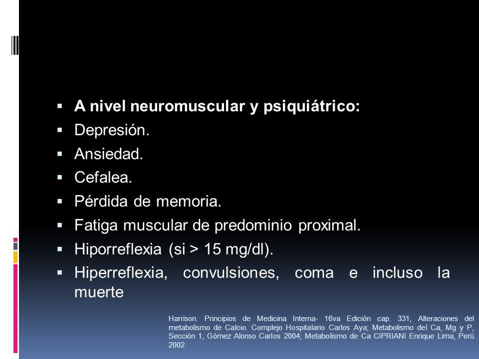 A nivel neuromuscular y psiquiátrico: Depresión. Ansiedad. Cefalea. Pérdida de memoria. Fatiga muscular de predominio proximal. Hiporreflexia (si > 15