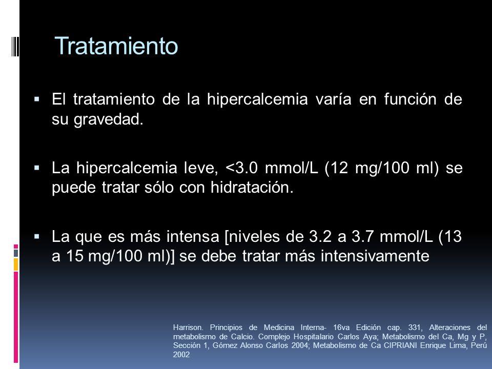 Tratamiento El tratamiento de la hipercalcemia varía en función de su gravedad. La hipercalcemia leve, <3.0 mmol/L (12 mg/100 ml) se puede tratar sólo