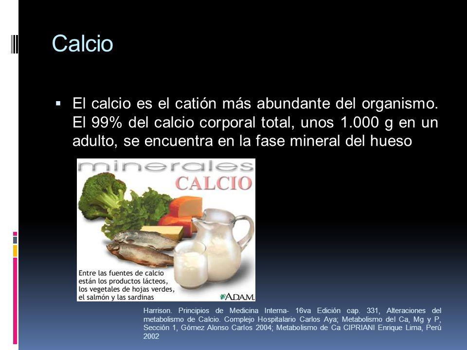 Calcio El calcio es el catión más abundante del organismo. El 99% del calcio corporal total, unos 1.000 g en un adulto, se encuentra en la fase minera