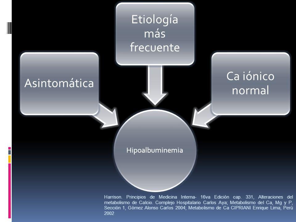 Harrison. Principios de Medicina Interna- 16va Edición cap. 331, Alteraciones del metabolismo de Calcio. Complejo Hospitalario Carlos Aya; Metabolismo