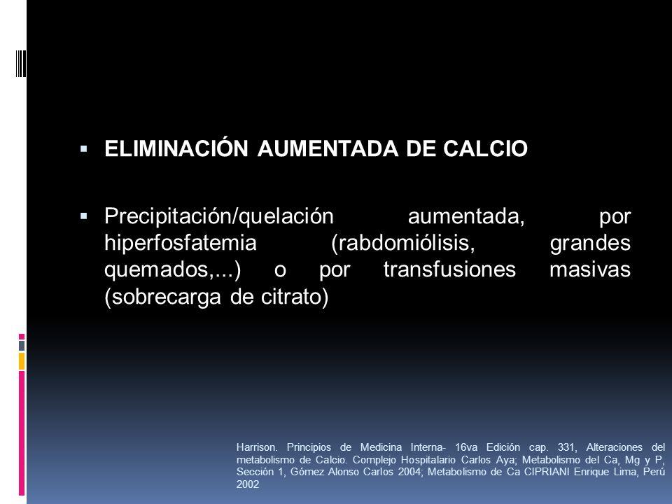 ELIMINACIÓN AUMENTADA DE CALCIO Precipitación/quelación aumentada, por hiperfosfatemia (rabdomiólisis, grandes quemados,...) o por transfusiones masiv