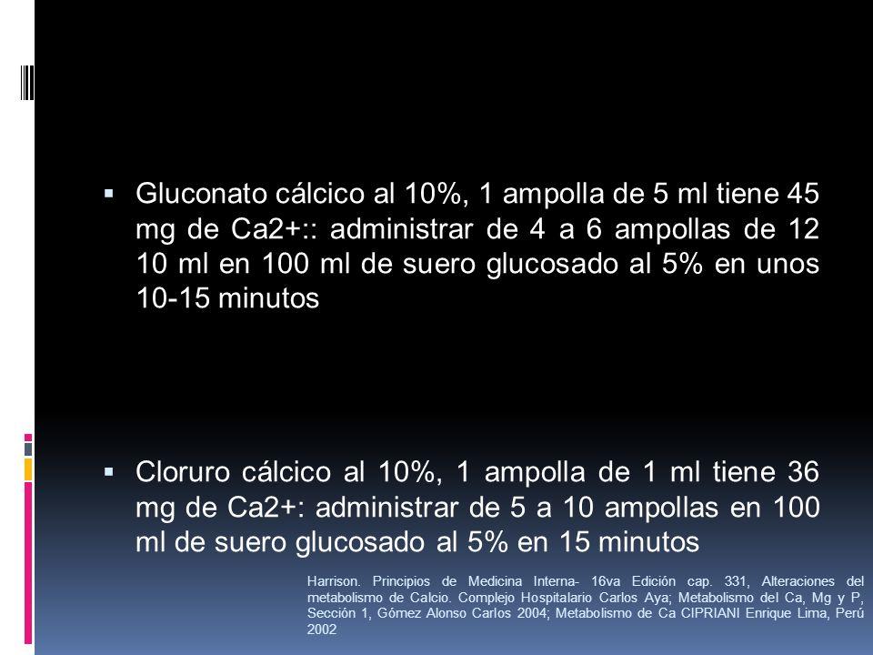 Gluconato cálcico al 10%, 1 ampolla de 5 ml tiene 45 mg de Ca2+:: administrar de 4 a 6 ampollas de 12 10 ml en 100 ml de suero glucosado al 5% en unos
