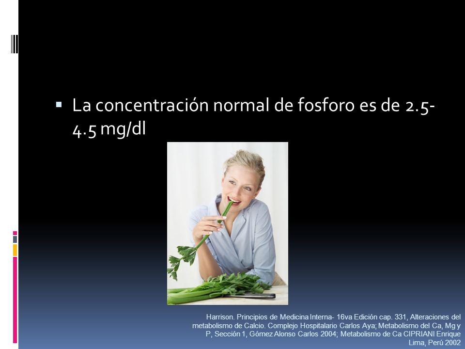 La concentración normal de fosforo es de 2.5- 4.5 mg/dl Harrison. Principios de Medicina Interna- 16va Edición cap. 331, Alteraciones del metabolismo