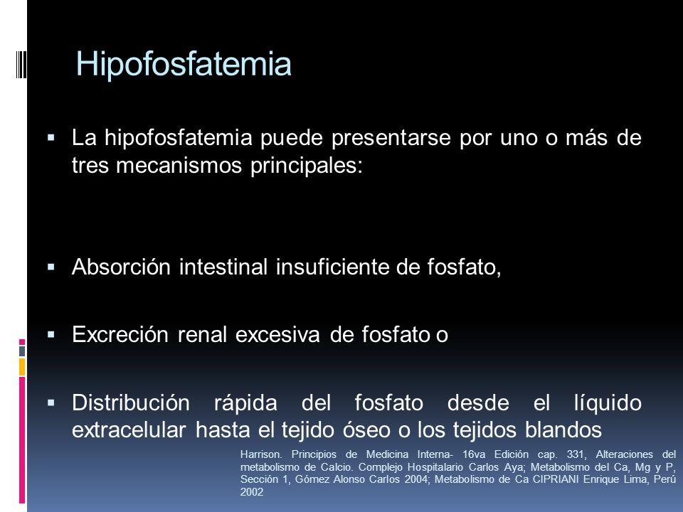 Hipofosfatemia La hipofosfatemia puede presentarse por uno o más de tres mecanismos principales: Absorción intestinal insuficiente de fosfato, Excreci