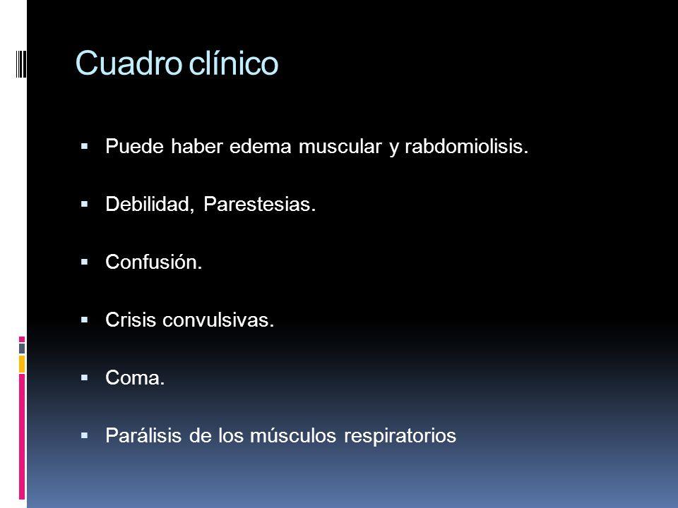 Cuadro clínico Puede haber edema muscular y rabdomiolisis. Debilidad, Parestesias. Confusión. Crisis convulsivas. Coma. Parálisis de los músculos resp