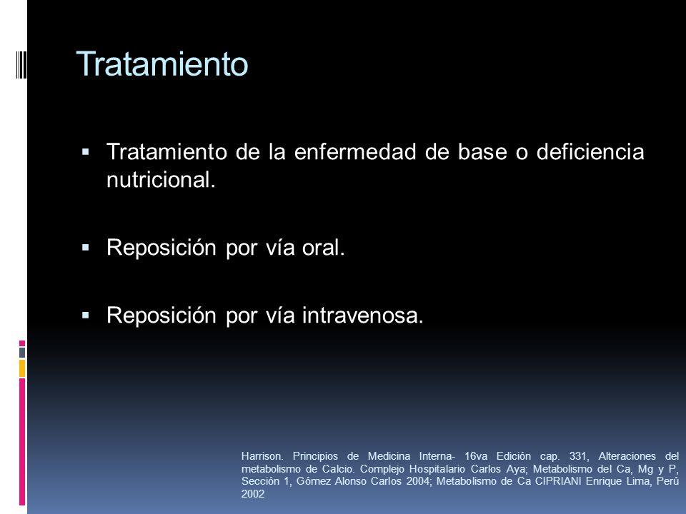 Tratamiento Tratamiento de la enfermedad de base o deficiencia nutricional. Reposición por vía oral. Reposición por vía intravenosa. Harrison. Princip