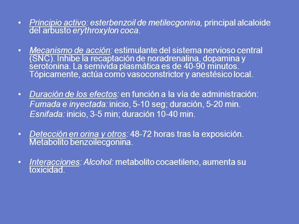 Principio activo: esterbenzoil de metilecgonina, principal alcaloide del arbusto erythroxylon coca. Mecanismo de acción: estimulante del sistema nervi