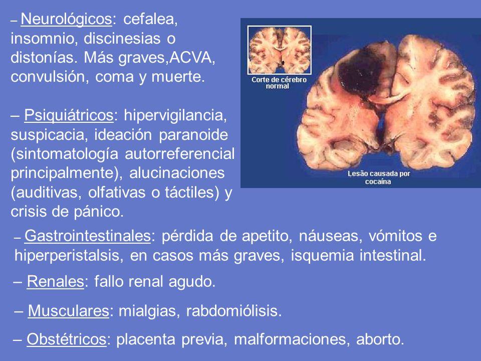 – Neurológicos: cefalea, insomnio, discinesias o distonías. Más graves,ACVA, convulsión, coma y muerte. – Psiquiátricos: hipervigilancia, suspicacia,