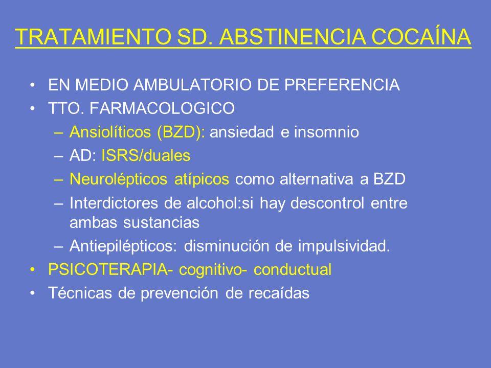 TRATAMIENTO SD. ABSTINENCIA COCAÍNA EN MEDIO AMBULATORIO DE PREFERENCIA TTO. FARMACOLOGICO –Ansiolíticos (BZD): ansiedad e insomnio –AD: ISRS/duales –