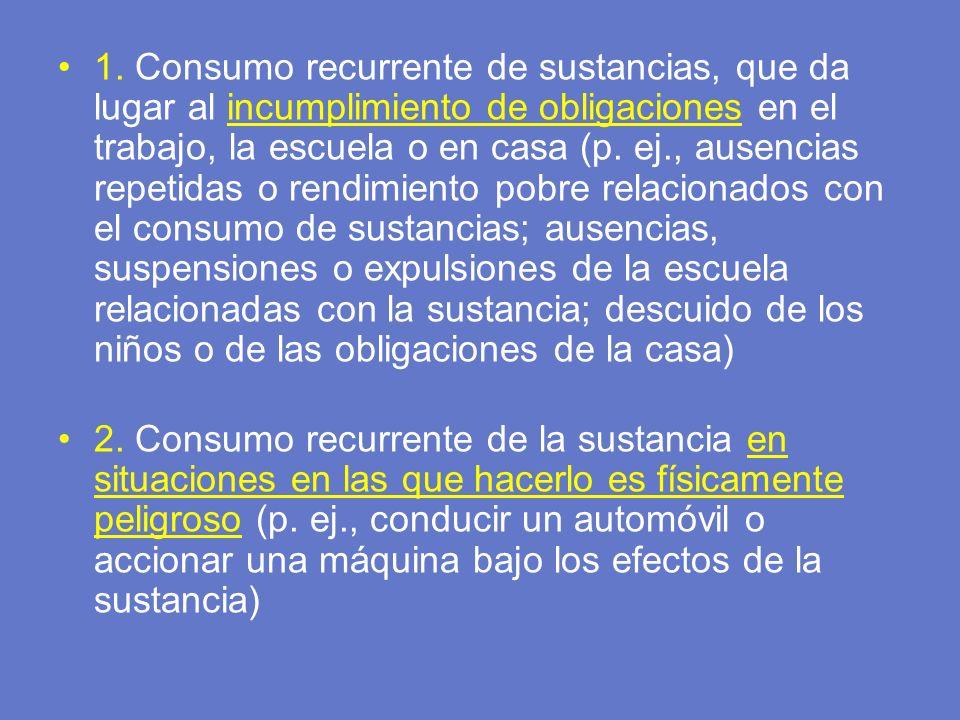 1. Consumo recurrente de sustancias, que da lugar al incumplimiento de obligaciones en el trabajo, la escuela o en casa (p. ej., ausencias repetidas o