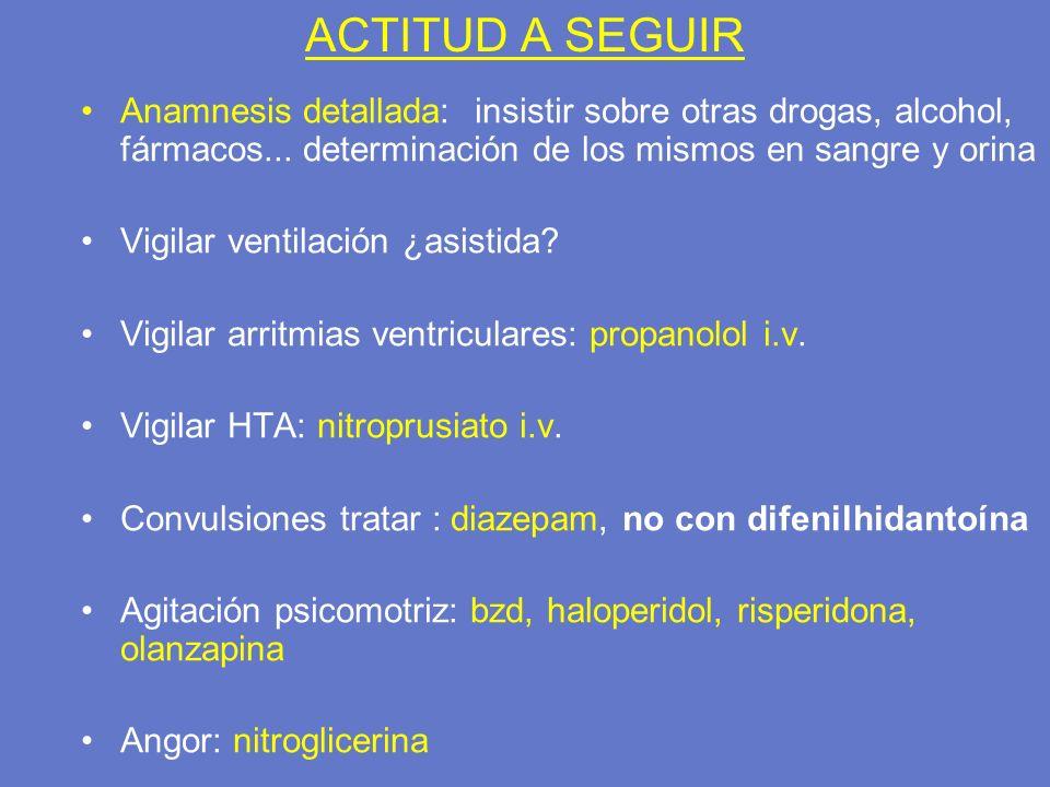 ACTITUD A SEGUIR Anamnesis detallada: insistir sobre otras drogas, alcohol, fármacos... determinación de los mismos en sangre y orina Vigilar ventilac